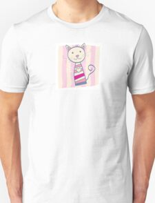 Pink kitten. Stripped small cute baby kitten Unisex T-Shirt