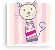 Pink kitten. Stripped small cute baby kitten Canvas Print