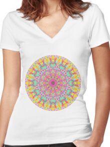 CANDY MANDALA BRIGHT Women's Fitted V-Neck T-Shirt