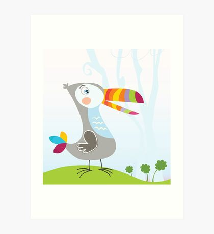 Tropical jungle scene with Toucan. Funny colorful bird in jungle. Vector Illustration. Art Print