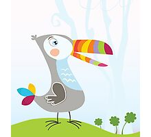 Tropical jungle scene with Toucan. Funny colorful bird in jungle. Vector Illustration. Photographic Print