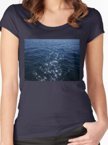 Sparkly Deep Blue Sea Waves Women's Fitted Scoop T-Shirt