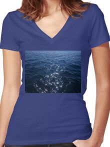 Sparkly Deep Blue Sea Waves Women's Fitted V-Neck T-Shirt