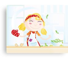 Funny kitchen girl. Cooking girl have fun in the kitchen Metal Print