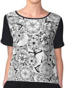 Modern black white hand painted original floral Chiffon Top