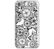 Modern black white hand painted original floral iPhone Case/Skin