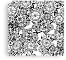 Modern black white hand painted original floral Canvas Print