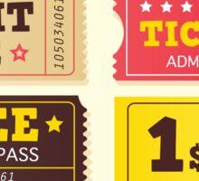 Vintage cinema tickets. On movie or to Theatre? Use my tickets Sticker