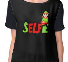 Christmas Elf Cute Funny Selfie Graphic Chiffon Top