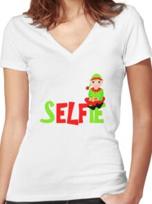 Christmas Elf Cute Funny Selfie Graphic Women's Fitted V-Neck T-Shirt