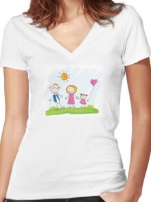 Doodle happy family. Mother, father and child on green meadow Women's Fitted V-Neck T-Shirt