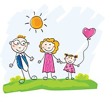 Doodle happy family. Mother, father and child on green meadow Photographic Print