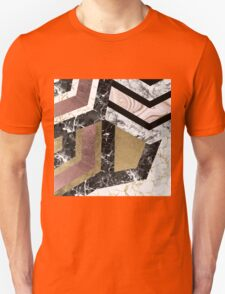 Abstract chic faux rose gold black white marble  Unisex T-Shirt
