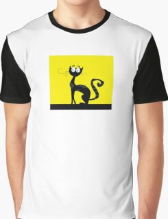 Black cat. Black silhouette of cat isolated on color background Graphic T-Shirt