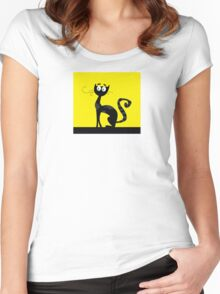 Black cat. Black silhouette of cat isolated on color background Women's Fitted Scoop T-Shirt