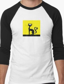 Black cat. Black silhouette of cat isolated on color background Men's Baseball ¾ T-Shirt