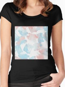 Pastel coral teal modern watercolor paint brushstrokes Women's Fitted Scoop T-Shirt