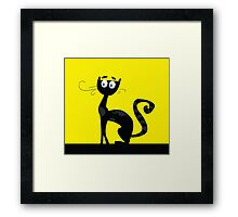 Black cat. Black silhouette of cat isolated on color background Framed Print