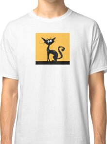 Black cat. Black silhouette of cat isolated on color background Classic T-Shirt
