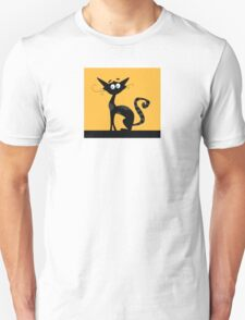 Black cat. Black silhouette of cat isolated on color background Unisex T-Shirt