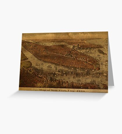 Map of New York City 1875 Greeting Card