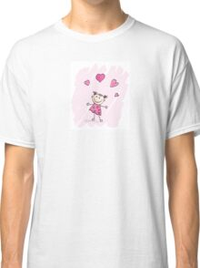 Small girl with hearts. Doodle cartoon character. Loving girl with hearts Classic T-Shirt
