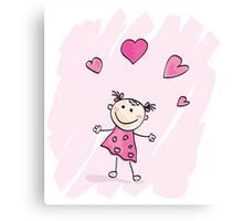 Small girl with hearts. Doodle cartoon character. Loving girl with hearts Canvas Print