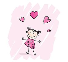 Small girl with hearts. Doodle cartoon character. Loving girl with hearts Photographic Print