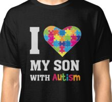 I Love My Son With Autism - Heart Puzzle - Awareness T Shirt Classic T-Shirt