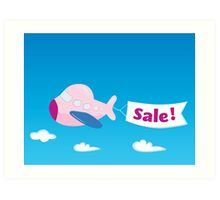 Flight sale! Flying Airplane with promotional banner Art Print