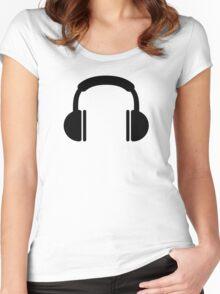 Headphones music DJ Women's Fitted Scoop T-Shirt