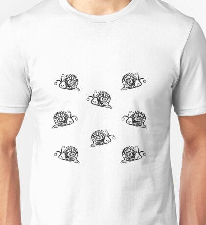 Black and white Snails Pattern on white Background Unisex T-Shirt