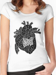Typographic heart -black Women's Fitted Scoop T-Shirt