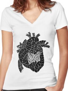 Typographic heart -black Women's Fitted V-Neck T-Shirt