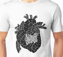 Typographic heart -black Unisex T-Shirt