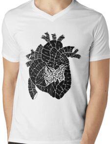 Typographic heart -black Mens V-Neck T-Shirt