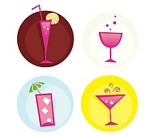 Drinks iconset. Mix of summer hot drinks Photographic Print