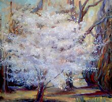 FUMC Cherry Trees, oil on canvas by Lindsey O'Shields