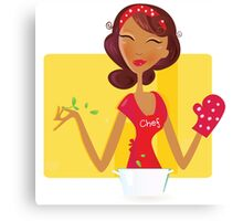 Sexi woman chef. Sexi woman is preparing dinner in the kitchen Canvas Print