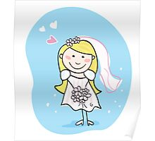 Bride in white. This beautiful bride in white dress is still waiting for the right one Poster