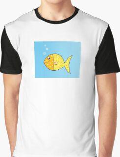 Gold cartoon fish. Gold yellow cartoon fish. Vector Illustration. Graphic T-Shirt