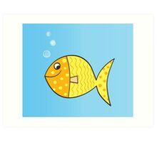 Gold cartoon fish. Gold yellow cartoon fish. Vector Illustration. Art Print