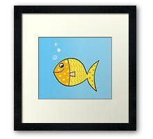 Gold cartoon fish. Gold yellow cartoon fish. Vector Illustration. Framed Print