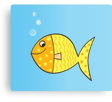 Gold cartoon fish. Gold yellow cartoon fish. Vector Illustration. Canvas Print