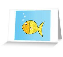 Gold cartoon fish. Gold yellow cartoon fish. Vector Illustration. Greeting Card