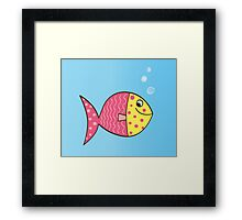Cartoon Fish. Cute colorful fish Framed Print