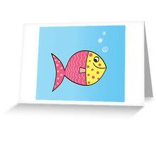Cartoon Fish. Cute colorful fish Greeting Card