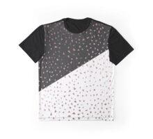 Speckled Rose Gold Flakes on Black White Geometric Graphic T-Shirt
