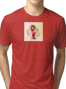 Exotic food Sushi. Girl with sushi in attractive japanese restaurant Tri-blend T-Shirt