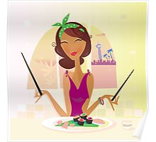 Exotic food Sushi. Girl with sushi in attractive japanese restaurant Poster
